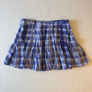 Millau Pleated Purple Blue Tie Die Skirt Small